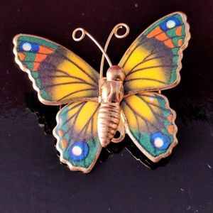 Vintage Colorful Enamel Butterfly Brooch Pin